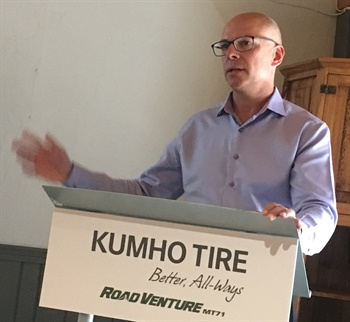 """Shawn Denlein, executive vice president of sales and marketing for Kumho Tire USA, says the Road Venture MT71 will be """"a cornerstone product"""" for the tire manufacturer."""