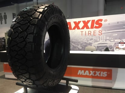 The Razr AT, seen here at last week's Specialty Equipment Market Association Show, is Maxxis' new all-terrain light truck tire.