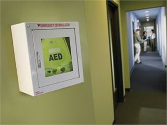A life-saving shock from an automated external defibrillator along with effective CPR is the only definitive treatment for sudden cardiac arrest. Photo: defibshop