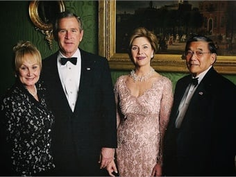 Deni Mineta, President George W. Bush, First Lady Laura Bush, and Norm Mineta. (Photo used with permission from Mineta photo archives.)