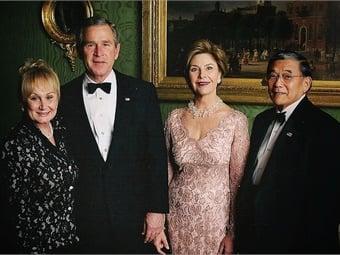Deni Mineta, President George W. Bush, First Lady Laura Bush, and Norm Mineta. (Photo used with permission from Mineta photo archives.)