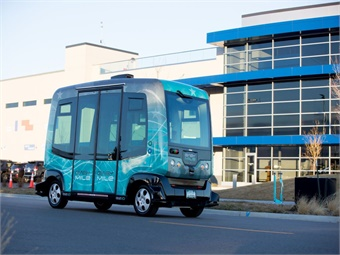 In addition to Panasonic's connected vehicle technology demonstration, EasyMile highlighted its autonomous shuttle at the Peña Station NEXT development.
