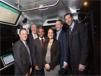 Right to left: RTD's Dave Genova (Regional Transportation District), PNA's Jim Doyle, Denver Mayor Michael B. Hancock, EasyMile's Lauren Isaac, Colorado Governor John Hickenlooper, and PNA's Jarrett Wendt.