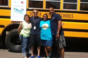 Denver Public Schools transportation staffers collected school supplies at the Fitness on the Rocks event at Red Rocks Park and Amphitheatre.