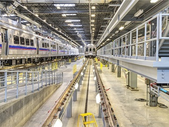 Stored commuter rail vehicles at Denver RTD's Gold LEED-certified maintenance facility. Photo: Denver RTD