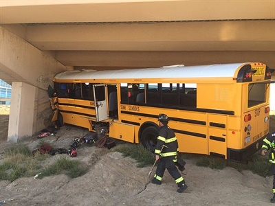 Bus driver Kari Chopper prepared to leave the Denver International Airport when she apparently made a wrong turn, crashed into a pillar, and was killed. Fifteen students and three coaches were injured in the crash.  Photo courtesy of the Denver Police Department