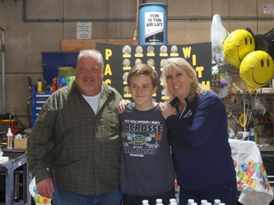 Pictured here with Packey at the party are Dan Cotreau, Denville's former supervisor of transportation, and Stacey Greenhangen, a driver and transportation assistant.