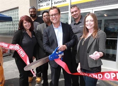 Sears Auto Center President and CFO Jon Otterberg (center) cut the ribbon on the newest DieHard Auto Center stores Aug. 18 in the Detroit area. From left to right he's with Patricia Langmaack, project manager; David Junior, manager of the Troy store; Philip Philip, general manager of the DieHard brand; Andrew Milius, district service manager; and Marie Lafkiotes, chief marketing officer and senior director of strategy.