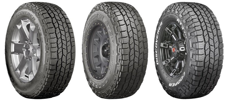 The new Discoverer AT3 line from Cooper is designed for three segments of consumers. The new tires are (from left): Discoverer AT3 4S, Discoverer AT3 LT and Discoverer AT3 XLT.