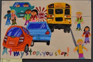 Jaeho Lee of Portland, Ore., was the overall winner of this year's National School Bus Safety Poster Contest. Lee also placed first in Division I.