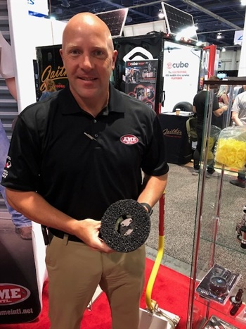 Don Tinker says the bigger version of AME International's Hub Buddy is designed for European vehicles with lug bolts.