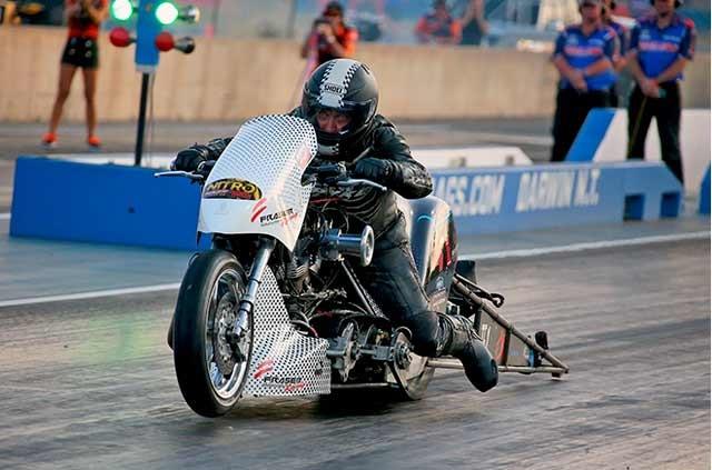 Top Fuel Motorcycle defending champion Chris Porter. Photo credit: Grant Stephens / Drag News Australia