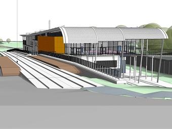 A rendering of the very light rail innovation center. Image: Dudley Metropolitan Borough Council