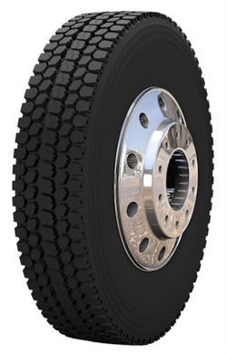 The SmartWay-verified Duraturn DD10 drive tire features an open shoulder tread design that provides optimum traction.