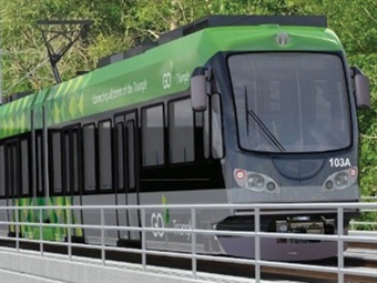Rednering of GoTriangle's Durham light rail line via Gannet Fleming/WSP USA
