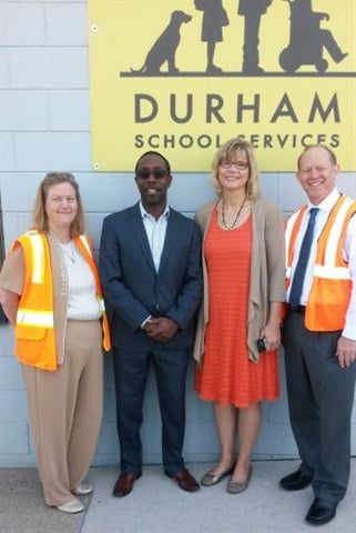 Waterloo Mayor Quentin Hart (second from left) visited Durham's local facility. He was joined by Waterloo Superintendent Jane Lindaman (second from right), Durham GM Kathleen Corbett, and Durham VP Richard Klaus.