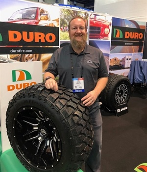 Chris Clinton says additional fitments are being developed for the Duro Frontier MT tire. Five fitments are available now.