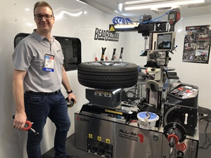 Gaither Tool set up the E-Cube mobile tire servicing unit in a van to demonstrate its size and capabilities.