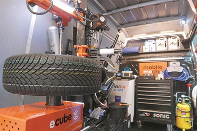 The new ECUBE service unit is used to help tire dealers perform on-road service calls.