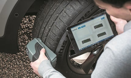 The Sigmavision TreadReader is innovative technology that creates a three dimensional scan of a tire's tread depth and reveals any uneven wear due to issues such as incorrect inflation level, misalignment or suspension problems.