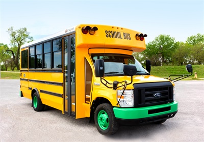 Collins Bus Corp.'s parent company, REV Group, sold its shuttle manufacturing businesses and is increasing focus on producing school buses and multi-function activity school buses. Shown here is the electric version of the Collins Type A school bus. Photo courtesy Collins Bus Corp.