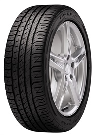 """Goodyear says the Eagle F1 Asymmetric All-Season tire's tread pattern provides exceptional handling on wet and dry roads. A """"dry handling"""" zone puts more rubber on the road, and an """"all-season zone"""" enhances wet traction."""