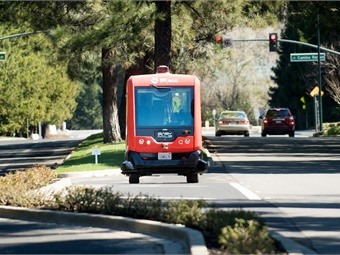 Contra Costa Transportation Authority is leading a pilot demonstration project testing electric, low-speed, multi-passenger autonomous vehicles manufactured by Easymile. Photo: CCTA
