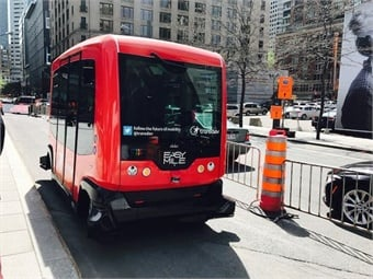 The Transdev/EasyMile shuttle was one of driverless electric vehicles being demonstrated at the event. Photo: METRO Magazine