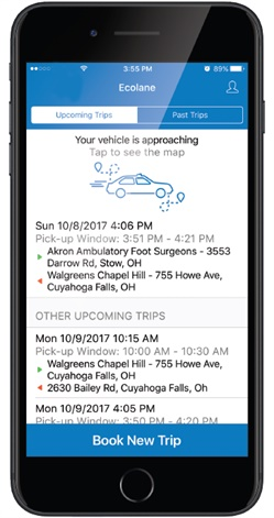 Available now for both iOS and Android, these new mobile capabilities provide measurable benefits to transit agencies and passangers. Photo courtesy of Ecolane.