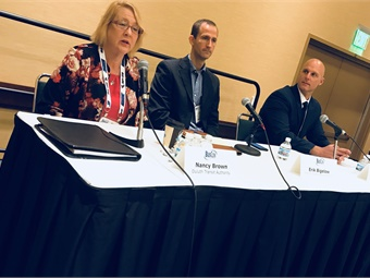 During the electric bus panel, the Duluth Transit Authority's Nancy Brown discussed how her agency is testing Proterra electric vehicles in extreme cold weather.