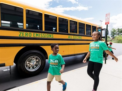 Dominion Energy's electric school bus program would add 50 electric buses to the company's Virginia service territory by the end of 2020, and then possibly 1,000 more buses by 2025. Photo courtesy Dominion Energy