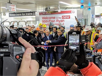 Chicago Mayor Rahm Emanuel (center) and Chicago Transit Authority President Dorval Carter (to his right) attend a ribbon cutting for the North Terminal of the 95th/Dan Ryan Station. Photo: Chicago Transit Authority