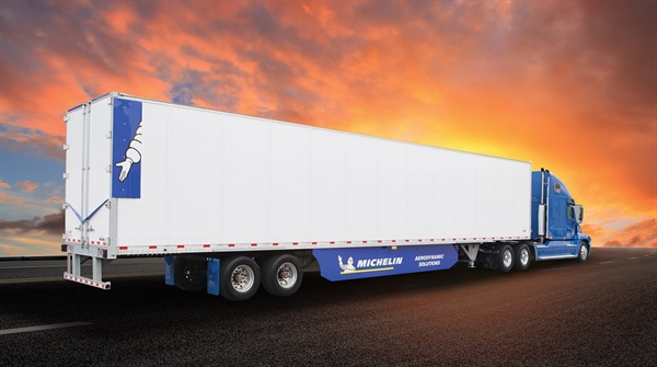 A 53-foot trailer is shown with the components of Michelin's new Energy Guard kit, which improves a trailer's aerodynamics to make it more fuel-efficient.
