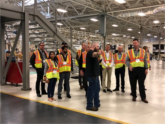 Motorcoach operators touring the 1.5 million-square-foot Volvo Powertrain Manufacturing Facility in Hagerstown, Md. Photo: Prevost