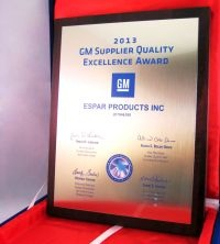 Espar was named a recipient of the General Motors Supplier Quality Excellence Award.