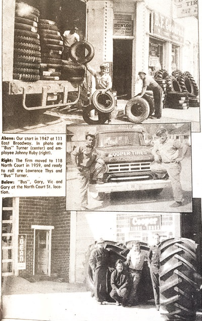 "Although the newspaper clipping says 1947, Iowa Tire Sales dates back to 1941.  The shop's founder, ""Bus"" Turner, is pictured in every photo. He was the grandfather of the shop's current owner, Jeremy Howard."