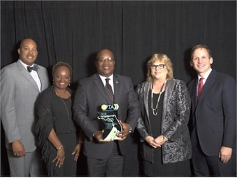(L to R) Cleveland Ferguson (JTA Vice President of Administration); Jacquie Gibbs (JTA Vice President of External Affairs); Nathaniel P. Ford Sr. (JTA Chief Executive Officer); Lisa Darnall (JTA Vice President of Transit Operations); and Brad Miller (FPTA Chairman and CEO of Pinellas Suncoast Transit Authority).