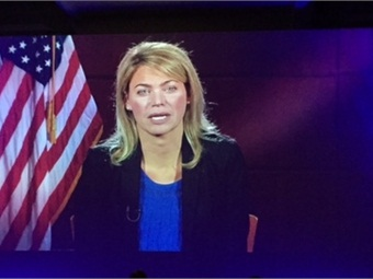Acting FRA Administrator Sarah Feinberg speaking via satellite at 2015 APTA Rail Conference.