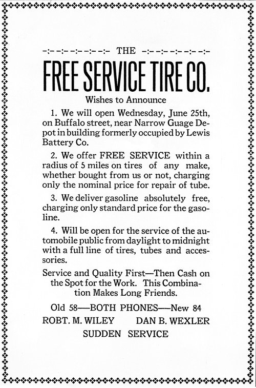 The first newspaper ad run by Free Service Tire helped explain its name.