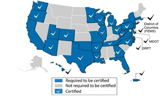 Map showing status of the FTA's State Safety Oversight Certification Program. FTA