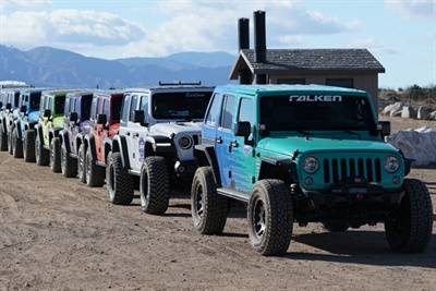 Falken Academy training includes an off-road test of the company's WildPeak products.