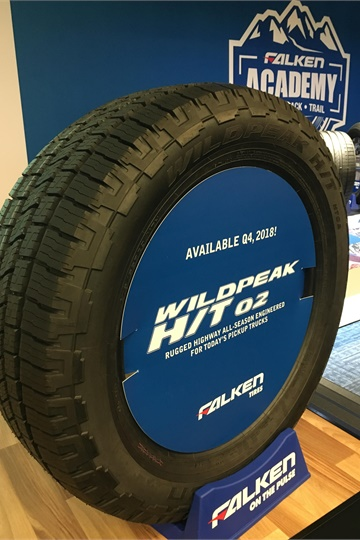 Next up for Falken is a refresh for the WildPeak H/T 01 tire. The 02 version will launch in the fourth quarter of 2018 and will come in 10 sizes that weren't available in the previous model.