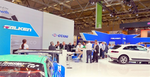 The Falken booth at Tire Cologne was spacious and busy.