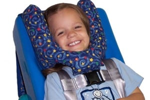 The Sleepy Time Headrest is designed to provide support from all angles for children in wheelchairs, car seats, feeder seats and other applications.