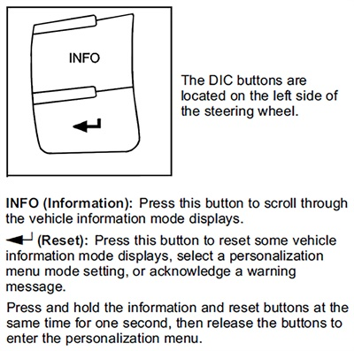 Figure 1: Identifying the driver information center (DIC) controls (2007-12).
