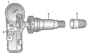 Figure 1: Identifying tire pressure sensor components. (Illustrations courtesy of Chrysler Corp.)