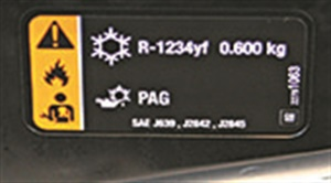 """The label on a new Malibu. It is on the firewall and indicates refrigerant type and quantity and the correct type of oil. Notice the """"flammable"""" icon."""