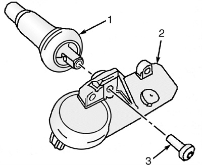 Figure 4: An exploded view of a snap-in style tire pressure sensor.