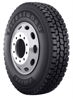 The Firestone FD711 drive tire has four-belt construction for durability and retread capability.