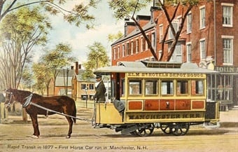 First horse car in Manchester, N.H. Public Domain